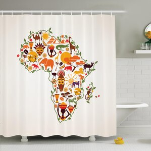 Map Curtains Wayfair - Hand lettered us map black and white shower curtain