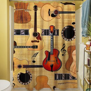 Buy clear Guitar Collage Shower Curtain By Manual Woodworkers & Weavers