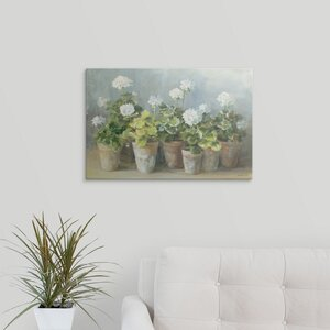 White Geraniums by Danhui Nai Painting Print on Wrapped Canvas by Great Big Canvas