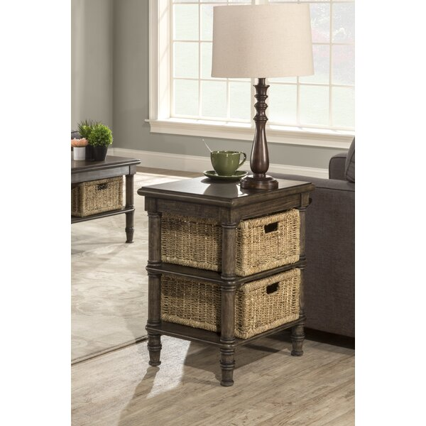 Holst End Table With Baskets by Highland Dunes