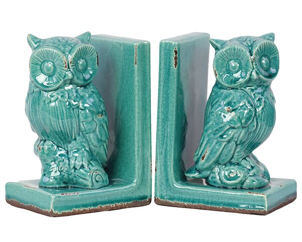 Alluring Stoneware Owl Bookend (Set of 2) by Woodland Imports