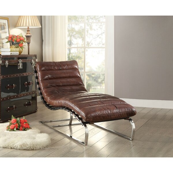 Lockman Top Grain Leather Chaise Lounge by 17 Stories
