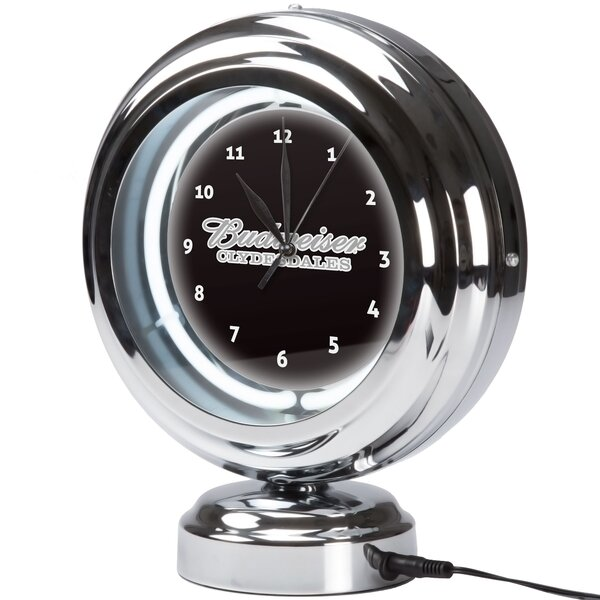 Budweiser Clydesdale Neon Table Clock by Trademark Global