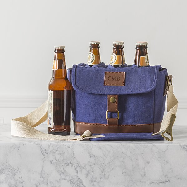 Personalized Insulated Waxed Canvas 6-Bottle Beer Carrier by Cathys Concepts