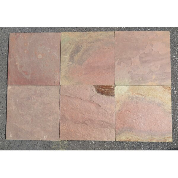 Red Slate Natural Cleft Face, Gauged Back 16x16 Slate Field Tile