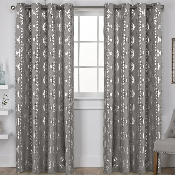House of Hampton Kittrell Metallic Top Geometric Semi-Sheer Grommet Curtain Panels & Reviews | Wayfair