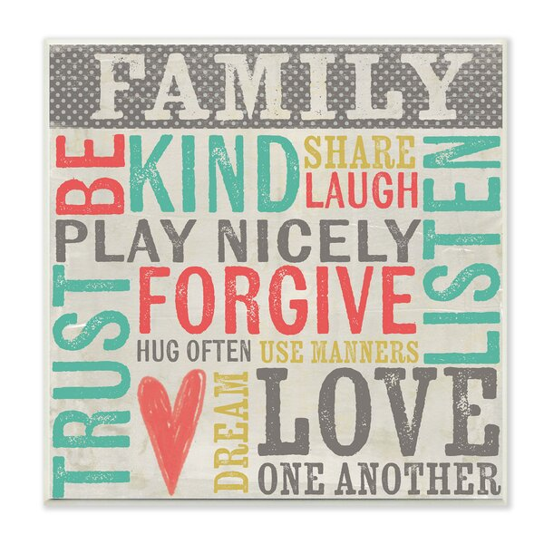 Family Inspirational Typography Wall Plaque by Stupell Industries