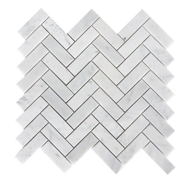 1 x 3 Marble Mosaic Tile in Carrara White by Luxsurface
