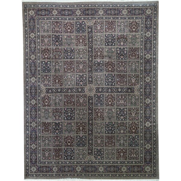 One-of-a-Kind Shah Hand-Knotted Gray/Wine 12' x 15' Wool Area Rug