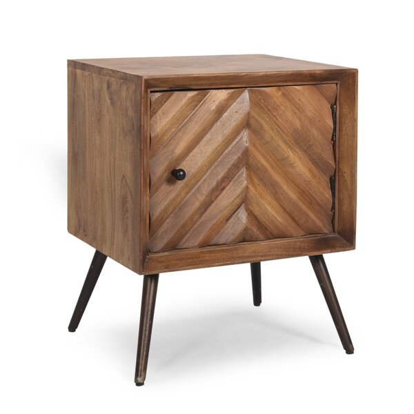 Mellon Handcrafted Boho Mango Wood 1 Door Accent Cabinet By George Oliver