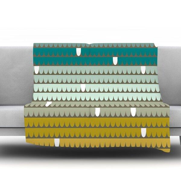 Teal Scallops by Pellerina Design Fleece Throw Blanket by East Urban Home