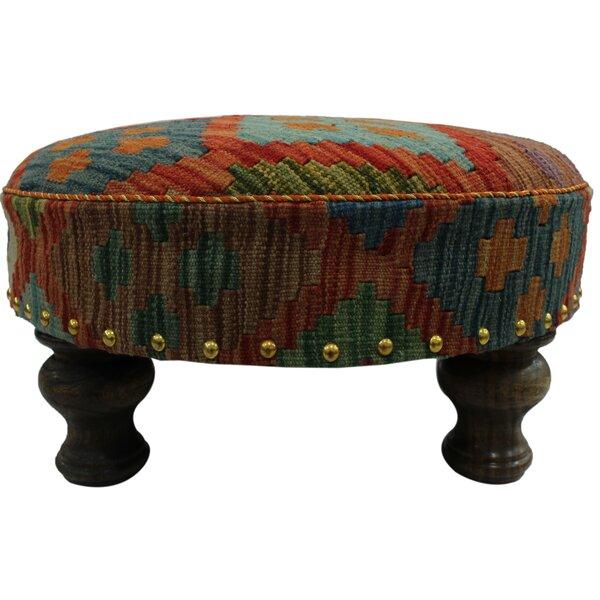 Geis Kilim Upholstered Handmade Ottoman by Bloomsbury Market