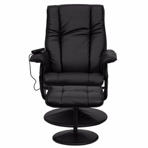 Leather Heated Reclining Massage Chair with Ottoman by Red Barrel Studio