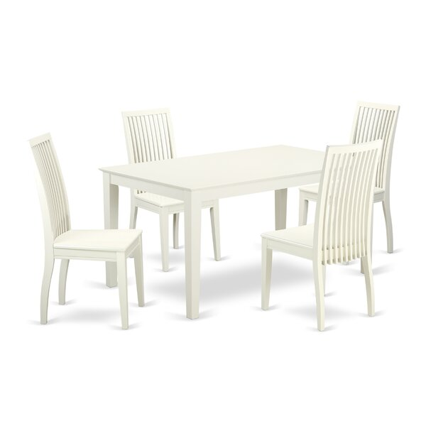 Smyrna 5 Piece Solid Wood Dining Set by Charlton Home