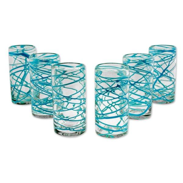 Aquamarine Swirl 11 oz. Water Glass (Set of 6) by Novica