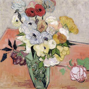 Roses and Anemones, 1890 by Vincent Van Gogh Canvas Painting Print by Trademark Fine Art