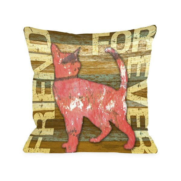Doggy Décor Friend Forever Wood Cat Throw Pillow by One Bella Casa
