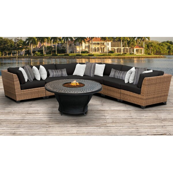 Waterbury 6 Piece Rattan Sectional Seating Group with Cushions by Sol 72 Outdoor