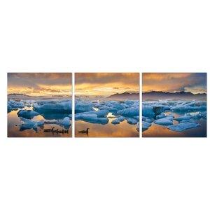 Jokulsarlon Sunset 3 Piece Photographic Print Set by Furinno