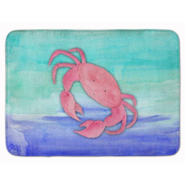 Bobbi Crab Watercolor Rectangle Microfiber Non-Slip Bath Rug