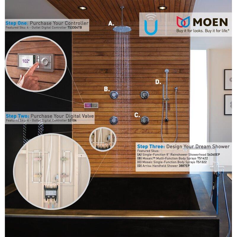 Moen 2-Outlet Thermostatic Digital Shower Controller & Reviews | Wayfair