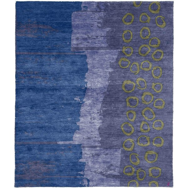 One-of-a-Kind Villar Hand-Knotted Tibetan Blue/Purple 10' Square Wool Area Rug
