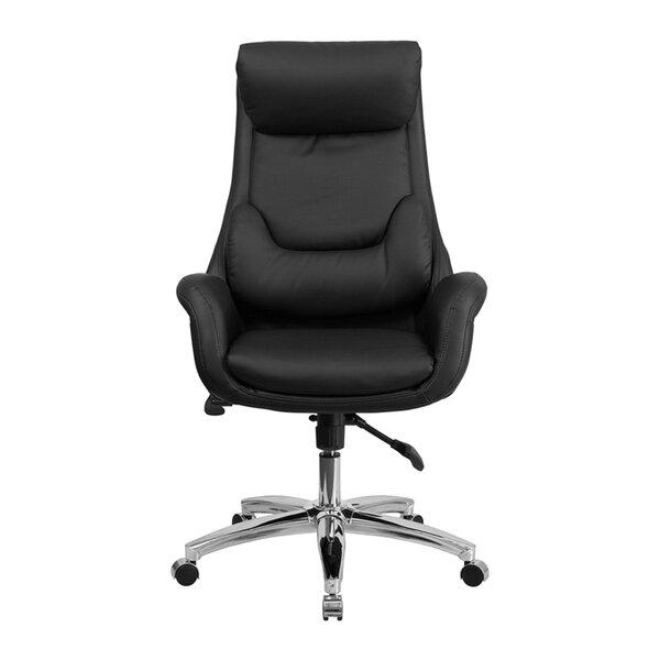 Dermody High-Back Leather Executive Chair with Lumbar Pillow by Latitude Run