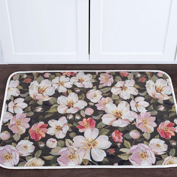Courtright Flowers Foam Core Bath Rug by Alcott Hill
