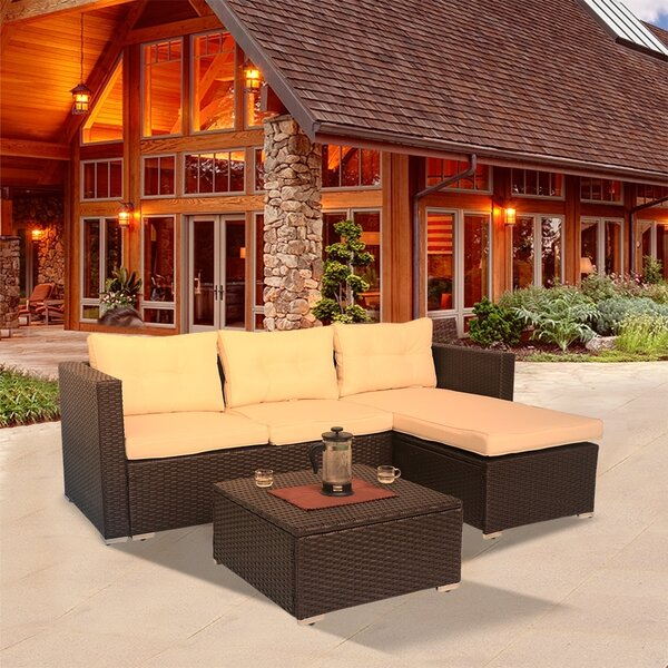 Furlong Patio 3 Piece Sectional Seating Group with Cushions by Wrought Studio