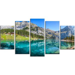 'Lake Oeschinen Switzerland' Photographic Print Multi-Piece Image on Canvas by Design Art