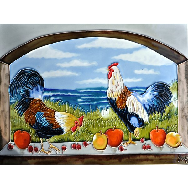 Roosters Archview Tile Wall Decor by Continental Art Center