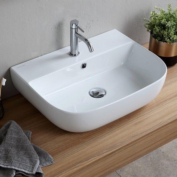 Glossy White Ceramic Rectangular Vessel Bathroom Sink with Overflow