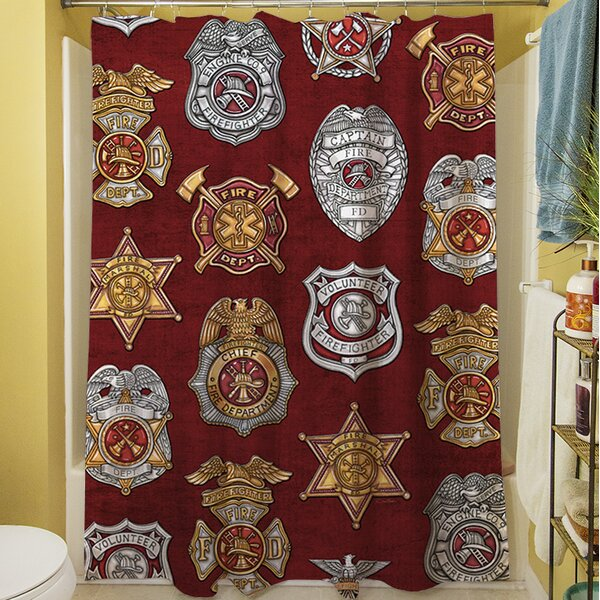 Firefighter Badges Shower Curtain by Manual Woodworkers & Weavers