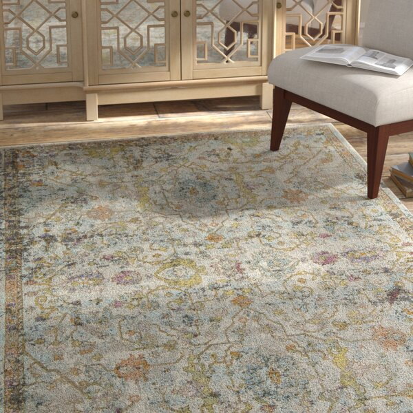 Chavira Distressed Blue/Green Area Rug by Bungalow Rose