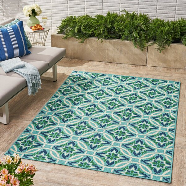 Bruton Geometric Blue Indoor/Outdoor Area Rug by Ivy Bronx