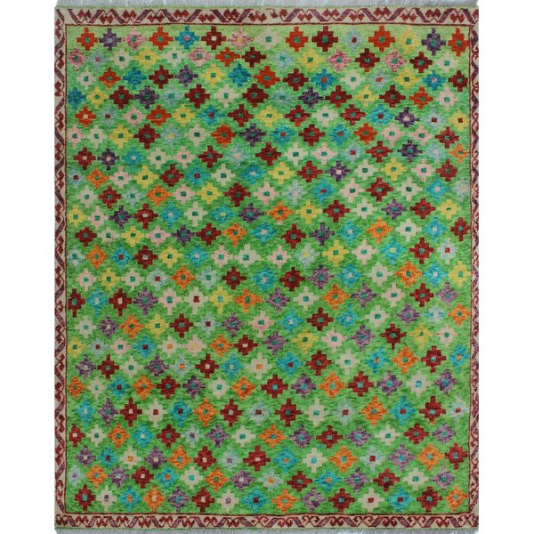 One-of-a-Kind Millender Abikanile Hand-Knotted Wool Green Area Rug by Bloomsbury Market