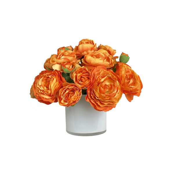 Artificial Silk Ranunculus Floral Arrangement in Decorative Vase by Mercer41