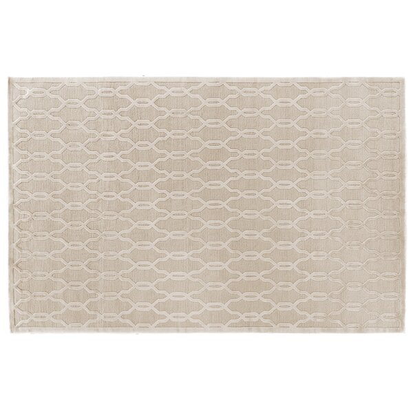 Harmony Hand Knotted Wool/Silk Light Beige Area Rug by Exquisite Rugs