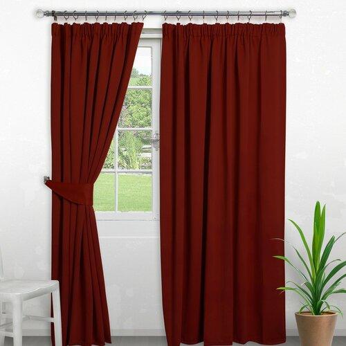 Pencil Pleat Blackout Thermal Curtain Symple Stuff Colour: R