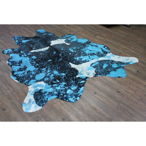 One-of-a-Kind Sherrell Hand-Woven Cowhide Aqua/Blue Area Rug by Brayden Studio