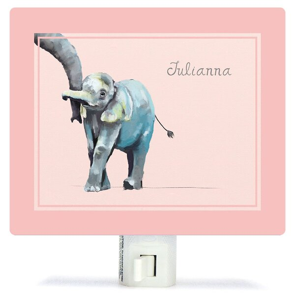 Personalized You And Me Elephant Canvas Night Light by Oopsy Daisy
