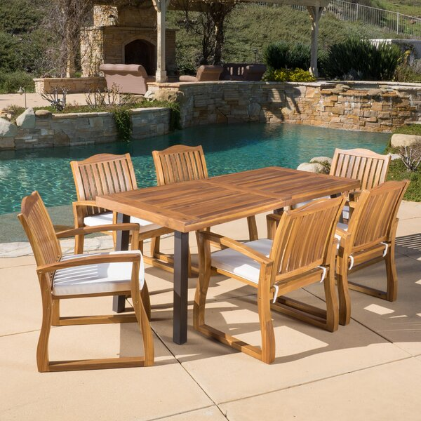 Isidore 7 Piece Dining Set With Cushions By Darby Home Co