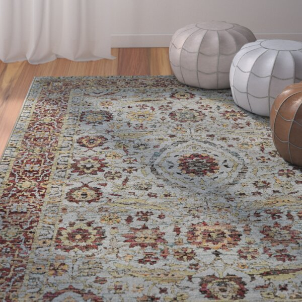Tuma Oriental Blue/Red Area Rug by Bungalow Rose