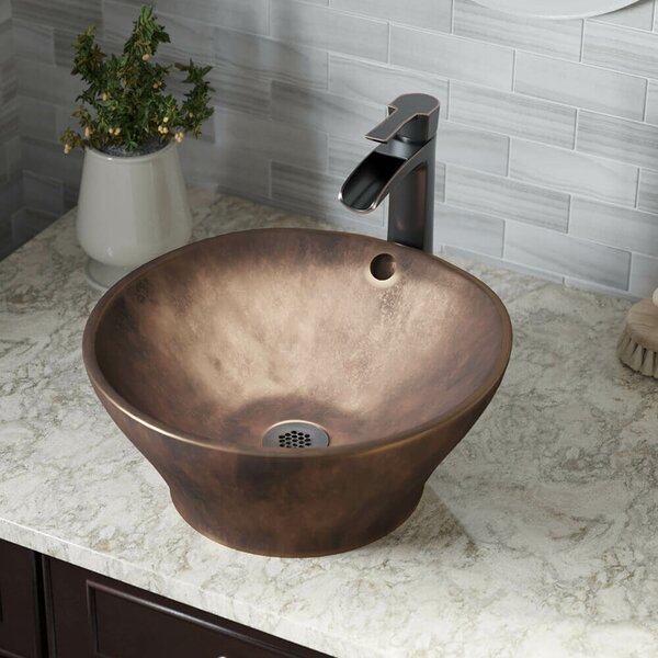 Bronze Circular Vessel Bathroom Sink With Faucet and Overflow