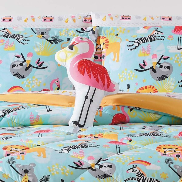 Hollowell Party Animals Famingo Throw Pillow by Zoomie Kids