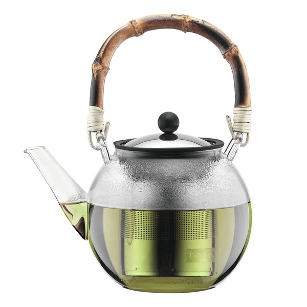 Assam 34 -qt. Glass/Stainless Steel Teapot with Bamboo Handle by Bodum