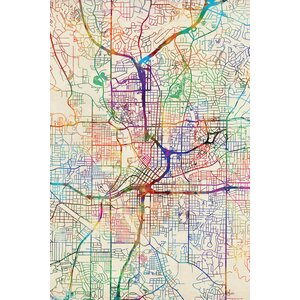 Urban Rainbow Street Map Series: Atlanta, Georgia, USA Graphic Art on Wrapped Canvas by East Urban Home