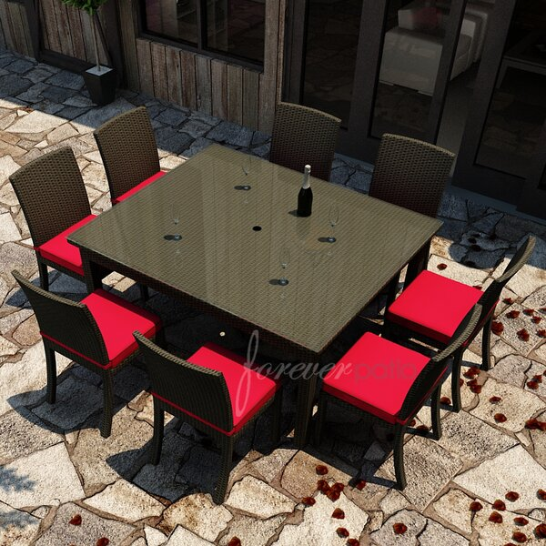 Barbados 9 Piece Dining Set with Sunbrella Cushions by Forever Patio