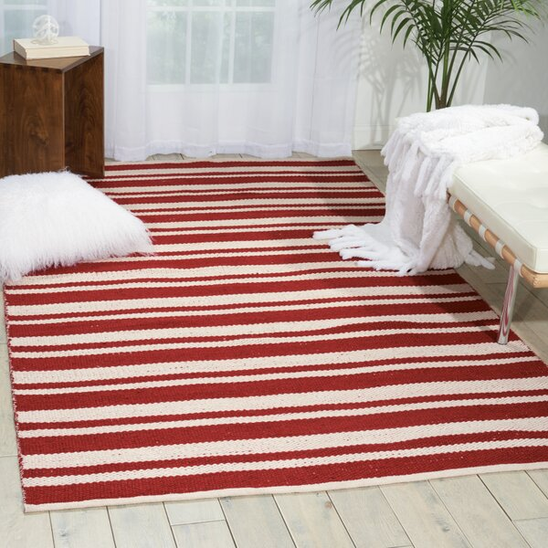 Stoughton Hand-Woven Red Area Rug by Breakwater Bay