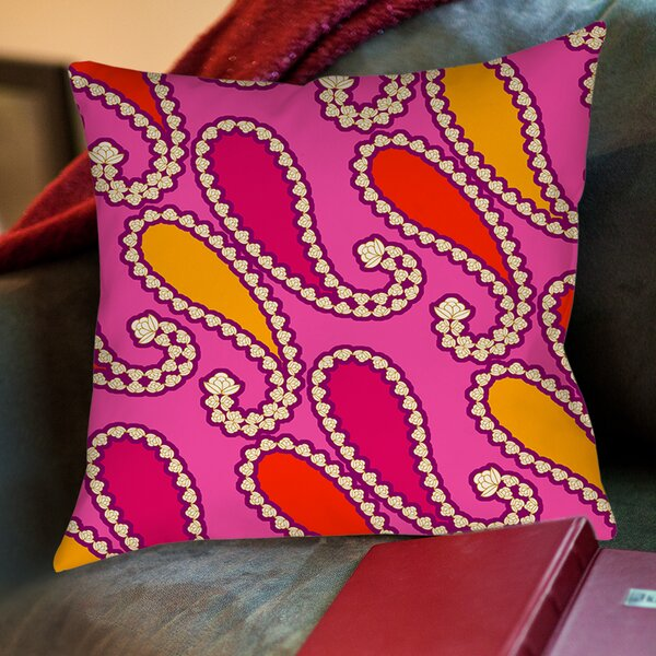 Paisley Printed Throw Pillow by Manual Woodworkers & Weavers